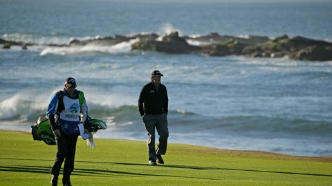 <p>               Phil Mickelson walks up the 18th fairway of the Pebble Beach Golf Links with his brother and caddie Tim Mickelson during the final round of the AT&T Pebble Beach Pro-Am golf tournament Monday, Feb. 11, 2019, in Pebble Beach, Calif. Mickelson won the tournament after finishing at 19-under-par. (AP Photo/Eric Risberg)             </p>