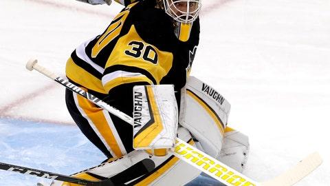<p>               Pittsburgh Penguins goaltender Matt Murray blocks a shot during the first period of an NHL hockey game against the Carolina Hurricanes in Pittsburgh, Tuesday, Feb. 5, 2019. (AP Photo/Gene J. Puskar)             </p>