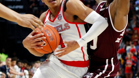 <p>               Mississippi guard Breein Tyree (4) pushes past Mississippi State guard Nick Weatherspoon (0) during the first half of an NCAA college basketball game in Oxford, Miss., Saturday, Feb. 2, 2019. (AP Photo/Rogelio V. Solis)             </p>