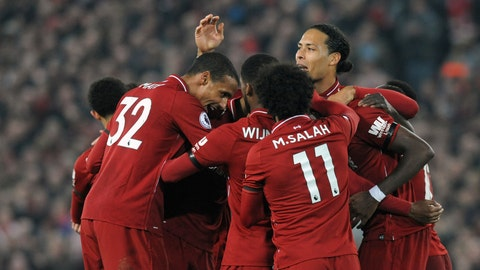 <p>               Liverpool's Divock Origi celebrates with teammates after scoring his side's third goal during the English Premier League soccer match between Liverpool and Watford at Anfield stadium in Liverpool, England, Wednesday, Feb. 27, 2019. (AP Photo/Rui Vieira)             </p>