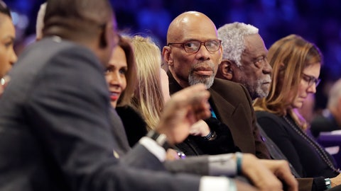 <p>               Former NBA player Kareem Abdul-Jabbar, center, speaks with Dominque Wilkins, left, as former player Bill Russell is seen at right, during the NBA All-Star skills session basketball contest, Saturday, Feb. 16, 2019, in Charlotte, N.C. (AP Photo/Chuck Burton)             </p>