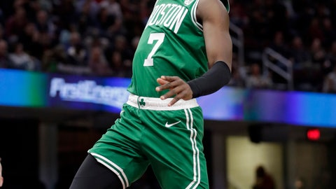 <p>               Boston Celtics' Jaylen Brown (7) drives to the basket against Cleveland Cavaliers' Deng Adel (32) during the first half of an NBA basketball game Tuesday, Feb. 5, 2019, in Cleveland. (AP Photo/Tony Dejak)             </p>