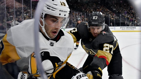 <p>               Pittsburgh Penguins center Derick Brassard (19) and Vegas Golden Knights defenseman Shea Theodore (27) vie for the puck during the first period of an NHL hockey game Saturday, Jan. 19, 2019, in Las Vegas. (AP Photo/David Becker)             </p>