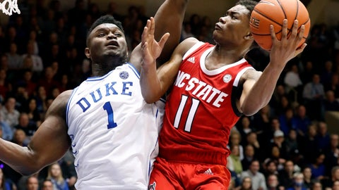 <p>               Duke's Zion Williamson (1) defends North Carolina State's Markell Johnson (11) during the first half of an NCAA college basketball game in Durham, N.C., Saturday, Feb. 16, 2019. (AP Photo/Chris Seward)             </p>
