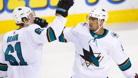 <p>               San Jose Sharks' Evander Kane, right, celebrates his goal against the Calgary Flames with teammate Justin Braun during the first period of an NHL hockey game Thursday, Feb. 7, 2019, in Calgary, Alberta. (Larry MacDougal/The Canadian Press via AP)             </p>