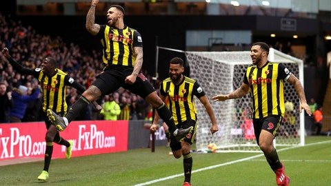 <p>               Watford's Andre Gray (second left) celebrates scoring his side's first goal of the game against Everton during the English Premier League soccer match at Vicarage Road in Watford, England, Saturday Feb. 9, 2019. (Nigel French/PA via AP)             </p>