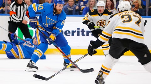 <p>               St. Louis Blues' Ryan O'Reilly (90) looks to pass the puck against the Boston Bruins during the second period of an NHL hockey game Saturday, Feb. 23, 2019, in St. Louis. (AP Photo/Dilip Vishwanat)             </p>