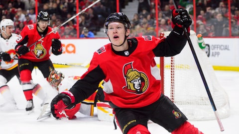<p>               Ottawa Senators left wing Brady Tkachuk (7) celebrates a goal against the Calgary Flames during the second period of an NHL hockey game, Sunday, Feb. 24, 2019 in Ottawa, Ontario. (Sean Kilpatrick/The Canadian Press via AP)             </p>