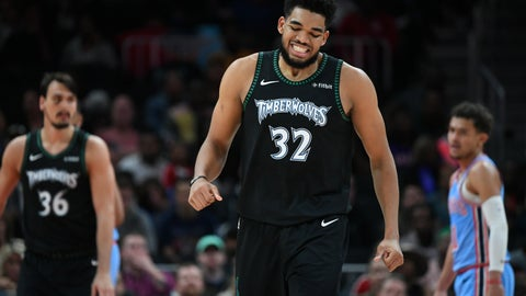 <p>               Minnesota Timberwolves center Karl-Anthony Towns winces after being fouled and missing a three point shot during the first half of an NBA basketball against the Atlanta Hawks, Wednesday, Feb. 27, 2019, in Atlanta. (AP Photo/John Amis)             </p>