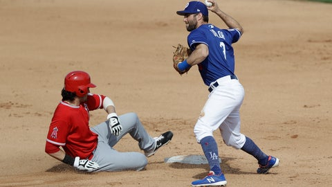 <p>               Los Angeles Angels' Jarrett Parker, left, is forced out at second as Los Angeles Dodgers left fielder Chris Taylor fakes a throw to first during the fourth inning of a spring training baseball game, Sunday, Feb. 24, 2019, in Glendale, Ariz. (AP Photo/Darron Cummings)             </p>