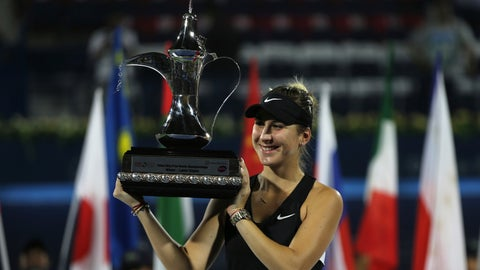 <p>               Switzerland's Belinda Bencic holds her trophy after defeating Czech Republic's Petra Kvitova during their final match of the Dubai Duty Free Tennis Championship in Dubai, United Arab Emirates, Saturday, Feb. 23, 2019. (AP Photo/Kamran Jebreili)             </p>