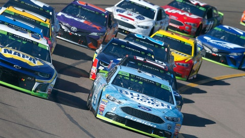 <p>               FILE- In this Nov. 11, 2018, file photo Kevin Harvick (4) leads the field for the green flag start during a NASCAR Cup Series auto race in Avondale, Ariz. NASCAR has radically revamped its racing packing in an aggressive push to improve its on-track product. (AP Photo/Rick Scuteri, File)             </p>