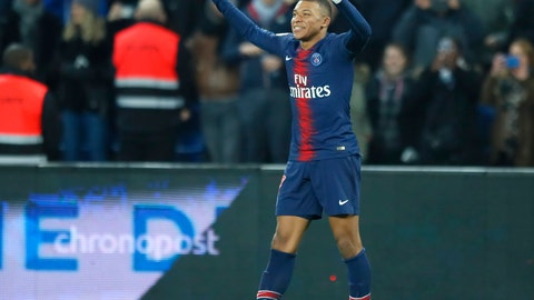 <p>               PSG's Kylian Mbappe celebrates after scoring his side's fifth goal during the French League One soccer match between Paris Saint Germain and Montpellier at the Parc des Princes stadium in Paris, France, Wednesday, Feb. 20, 2019. (AP Photo/Francois Mori)             </p>