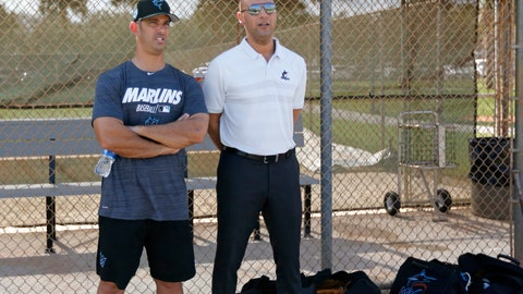 <p>               Miami Marlins Special advisor to baseball operations Jorge Posada, left, and Marlins Chief Executive Officer Derek Jeter talk during a workout at the team's spring training baseball facility in Jupiter, Fla., Monday, Feb. 18, 2019, (David Santiago/Miami Herald via AP)             </p>