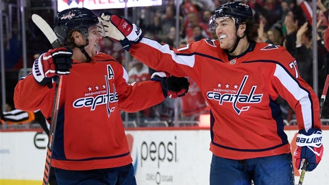 <p>               Washington Capitals right wing T.J. Oshie (77) celebrates his goal with center Nicklas Backstrom (19), of Sweden, during the second period of an NHL hockey game against the Ottawa Senators, Tuesday, Feb. 26, 2019, in Washington. (AP Photo/Nick Wass)             </p>
