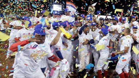 <p>               Panama's Los Toros de Herrera baseball players celebrate their 3-0 victory over Cuba's Los Leneros de las Tunas amid confetti at the end of the Caribbean Series baseball tournament's final, championship game at Rod Carew stadium in Panama City, Sunday, Feb. 10, 2019. (AP Photo/Arnulfo Franco)             </p>