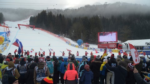 <p>               A view of the course and finish line after a men's World Cup downhill was cancelled due to bad weather, in Garmisch Partenkirchen, Germany, Saturday, Feb. 2, 2019. (AP Photo/Marco Tacca)             </p>