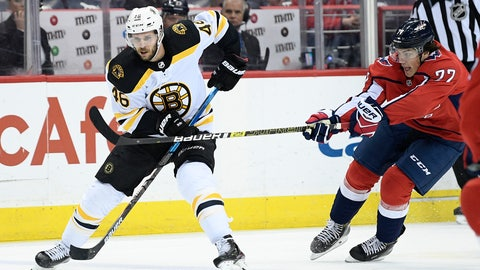 <p>               Boston Bruins center David Krejci (46), of the Czech Republic, skates with the puck against Washington Capitals right wing T.J. Oshie (77) during the first period of an NHL hockey game, Sunday, Feb. 3, 2019, in Washington. (AP Photo/Nick Wass)             </p>