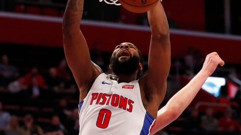 <p>               Detroit Pistons center Andre Drummond dunks during the first half of an NBA basketball game against the Denver Nuggets, Monday, Feb. 4, 2019, in Detroit. (AP Photo/Carlos Osorio)             </p>
