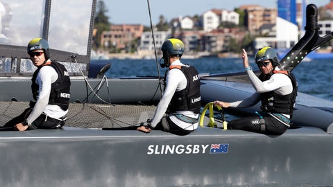 <p>               The Australian helmsmen Tom Slingsby, right, waves after winning a race in their F50 catamaran during their SailGP race on the harbor in Sydney, Friday, Feb. 15, 2019. Six super-charged F50 catamarans capable of reaching speeds up to 90 kilometers per hour (55 mph) are representing different nations in the two-day, six- race event. (AP Photo/Rick Rycroft)             </p>