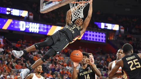 <p>               Florida State's Trent Forrest slams in a dunk during the first half of an NCAA college basketball game against Clemson Tuesday, Feb. 19, 2019, in Clemson, S.C. (AP Photo/Richard Shiro)             </p>