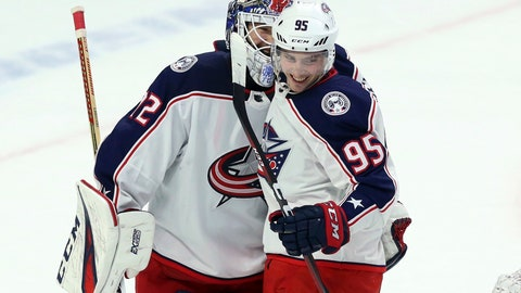 <p>               Columbus Blue Jackets' Matt Duchene (95) celebrates with teammate goaltender Sergei Bobrovsky (72) after defeating the Ottawa Senators in NHL hockey game action in Ottawa, Ontario, Friday, Feb. 22, 2019. (Fred Chartrand/The Canadian Press via AP)             </p>