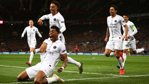 <p>               Paris Saint Germain's Presnel Kimpembe, left, celebrates after scoring the opening goal the game during the Champions League round of 16 soccer match between Manchester United and Paris Saint Germain at Old Trafford stadium in Manchester, England, Tuesday, Feb. 12,2019.(AP Photo/Dave Thompson)             </p>
