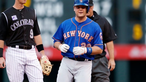 <p>               FILE - In this Wednesday, June 20, 2018 file photo, New York Mets' Devin Mesoraco stands at second after hitting a two-run double off Colorado Rockies starting pitcher Chad Bettis during the first inning of a baseball game in Denver. Catcher Devin Mesoraco is staying with the New York Mets, agreeing to a minor league contract, Thursday, Feb. 7, 2019. If added to the 40-man roster, the 30-year-old would get a one-year contract paying at a rate of $1.75 million while in the major leagues. (AP Photo/David Zalubowski, File)             </p>