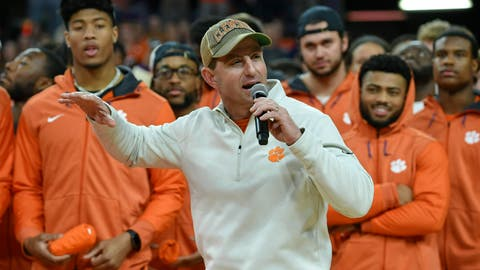 <p>               FILE - In this Saturday, Jan. 12, 2019 file photo, Clemson head football coach Dabo Swinney along with members of the 2019 National Championship football team address the crowd during the first half of an NCAA college basketball game between Clemson and Virginia in Clemson, S.C. Clemson just keeps on winning on the football field, and in recruiting. Less than a month after the Tigers won their second national championship in three years, they polished off the best class in the Atlantic Coast Conference on Wednesday, Feb. 6, 2019, the first day of the traditional signing period .(AP Photo/Richard Shiro, File)             </p>