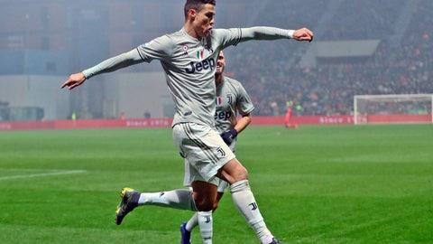 <p>               Juventus' Cristiano Ronaldo celebrates after scoring his side's second goal during series soccer match between Sassuolo and Juventus, at the Mapei Stadium in Reggio Emilia, Italy, Sunday, Feb. 10, 2019. (Elisabetta Baracchi/ANSA via AP)             </p>