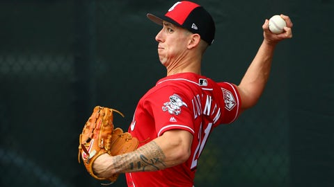 <p>               FILe - In this Feb. 13, 2019, file photo, Cincinnati Reds pitcher Michael Lorenzen throws a pitch during workouts at the Reds spring training baseball facility, in Goodyear, Ariz. With Billy Hamilton gone, the Reds have to decide who will play center field. They've got an assortment of candidates, including reliever Michael Lorenzen. (AP Photo/Ross D. Franklin, File)             </p>