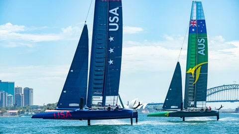 <p>               In this Sunday Feb. 3, 2019 photo provided by SailGP, SailGP USA Team, left and SailGP Australia Team practice side to side in Sydney. Taylor Canfield, of the America's Cup challenger Stars & Stripes Team USA, has joined the U.S. team in the fledgling SailGP league just two weeks before the inaugural regatta in Sydney. (Chris Cameron/SailGP via AP)             </p>