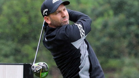 <p>               Sergio Garcia, of Spain, drives on the second tee in the rain in the Pro-Am round of the Genesis Open golf tournament at Riviera Country Club in the Pacific Palisades area of Los Angeles Wednesday, Feb. 13, 2019. Garcia is playing for the first time since he was disqualified for damaging greens at the Saudi International on Feb. 2. (AP Photo/Reed Saxon)             </p>