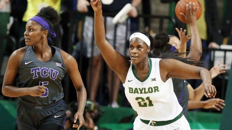 <p>               Baylor center Kalani Brown, right, reacts to her score while heading up court with TCU forward Yummy Morris, left, in the first half of an NCAA college basketball game, Saturday, Feb. 9, 2019, in Waco, Texas. (AP Photo/Rod Aydelotte)             </p>