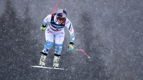 <p>               United States' Lindsey Vonn speeds down the course during the downhill portion of the women's combined, at the alpine ski World Championships in Are, Sweden, Friday, Feb. 8, 2019. (AP Photo/Marco Trovati)             </p>