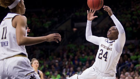 <p>               Notre Dame's Arike Ogunbowale (24) grabs a rebound during the first half of an NCAA college basketball game against Duke, Thursday, Feb. 21, 2019, in South Bend, Ind. (AP Photo/Robert Franklin)             </p>