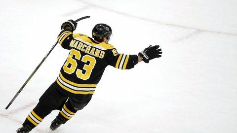 <p>               Boston Bruins' Brad Marchand celebrates after scoring the winning goal in overtime against the Colorado Avalanche in an NHL hockey game, Sunday, Feb. 10, 2019, in Boston. (AP Photo/Steven Senne)             </p>