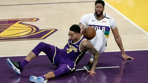 <p>               New Orleans Pelicans' Anthony Davis, right, collides with Los Angeles Lakers' Kyle Kuzma during the first half of an NBA basketball game Wednesday, Feb. 27, 2019, in Los Angeles. (AP Photo/Marcio Jose Sanchez)             </p>