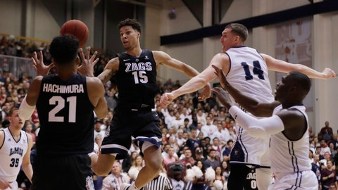 <p>               Gonzaga forward Brandon Clarke (15) passes to teammate Rui Hachimura (21) during the first half of an NCAA basketball game against Loyola Marymount Thursday, Feb. 14, 2019, in Los Angeles. (AP Photo/Marcio Jose Sanchez)             </p>