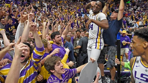 <p>               LSU forward Emmitt Williams (24) celebrates with the LSU student section after an overtime victory in an NCAA college basketball game against Tennessee, Saturday, Feb. 23, 2019, in Baton Rouge, La. LSU won in overtime 82-80.(AP Photo/Bill Feig)             </p>