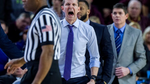 <p>               Washington coach Mike Hopkins shouts to his team during the second half of an NCAA college basketball game against Arizona State on Saturday, Feb. 9, 2019, in Tempe, Ariz. Arizona State won 75-63. (AP Photo/Darryl Webb)             </p>