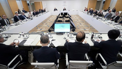 "<p>               FILE  - In this Saturday, Dec. 1, 2018 file photo, International Olympic Committee (IOC) President Thomas Bach, top center, and Tokyo Olympic organizing committee President Yoshiro Mori, bottom second from left, and Toshiro Muto, bottom second from right, CEO of the Tokyo Organizing Committee of the Olympic and Paralympic Games, attend an IOC Executive Board meeting in Tokyo. Time is ""rapidly"" running out to organize an Olympic tournament in 2020, the executive director of the International Boxing Association said Tuesday, Feb. 19, 2019 amid disputes with the International Olympic Committee and a breakaway group of boxing officials. (AP Photo/Eugene Hoshiko, File)             </p>"