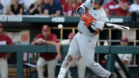 <p>               File-This June 28, 2018, file photo shows Oregon State Adley Rutschman hitting an RBI single to score Cadyn Grenier during the third inning of Game 3 against Arkansas in the NCAA College World Series baseball finals, in Omaha, Neb. The Beavers posted some of the best numbers in program history last year, and six of the players from the everyday lineup are gone. They still have Rutschman, the 2018 CWS Most Outstanding Player and possible No. 1 pick in the Major League Baseball draft in June, along with first baseman Zak Taylor and outfielder Preston Jones.(AP Photo/Nati Harnik, File)             </p>