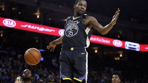 <p>               Golden State Warriors' Kevin Durant (35) scores against the Miami Heat during the second half of an NBA basketball game, Sunday, Feb. 10, 2019, in Oakland, Calif. (AP Photo/Ben Margot)             </p>