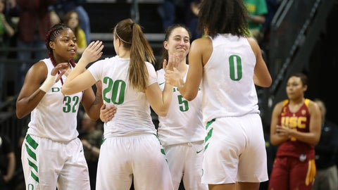 <p>               Oregon's Oti Gildon, left, Sabrina Ionescu, Maite Cazorla and Satou Sabally celebrate their win over Southern California after an NCAA college basketball game Sunday, Feb. 24, 2019, in Eugene, Ore. (AP Photo/Chris Pietsch)             </p>