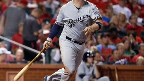 <p>               FILE - In this Sept. 29, 2017, file photo, Milwaukee Brewers' Stephen Vogt watches his solo home run during the fourth inning of a baseball game against the St. Louis Cardinals, in St. Louis. Free agent catcher Stephen Vogt is returning to the Bay Area, agreeing to a minor league contract with the San Francisco Giants. Vogt shared the news in a text message Monday, Feb. 11, 2019, when he was en route to the club's spring training complex in Scottsdale, Arizona, for Wednesday's pitchers and catchers reporting day. (AP Photo/Jeff Roberson, File)             </p>
