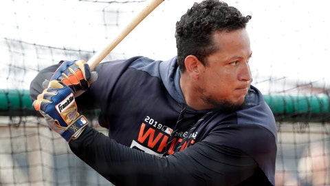 <p>               Detroit Tigers first baseman Miguel Cabrera bats at the Detroit Tigers spring training baseball facility, Monday, Feb. 18, 2019, in Lakeland, Fla. (AP Photo/Lynne Sladky)             </p>