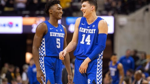 <p>               Kentucky's Immanuel Quickley, left, laughs with teammate Tyler Herro during the first half of an NCAA college basketball game against Missouri on Tuesday, Feb. 19, 2019, in Columbia, Mo. (AP Photo/L.G. Patterson)             </p>
