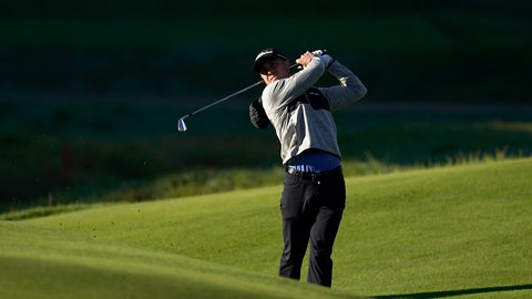 <p>               Justin Thomas watches his second shot from the eighth fairway as second round play continues during the Genesis Open golf tournament at Riviera Country Club on Saturday, Feb. 16, 2019, in the Pacific Palisades area of Los Angeles. (AP Photo/Ryan Kang)             </p>
