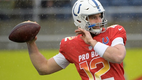 <p>               FILE - In this Jan. 27, 2019, file photo, AFC quarterback Andrew Luck (12), of the Indianapolis Colts, warms up before the NFL Pro Bowl football game against the NFC, in Orlando, Fla. Luck spent the last three offseasons rehabbing from injuries. Now that he's finally healthy, Luck can spend the next few months focusing on becoming a better quarterback and leader. And the plan begins with an odd twist: The Indianapolis Colts' biggest star taking a rare and well-deserved break. (AP Photo/Phelan M. Ebenhack, File)             </p>